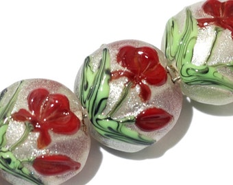 Glass Lampwork Bead Set - Four Crimson Flower Lentil Beads 10706112