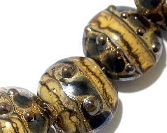 Seven Black w/Yellow Silver Foil Lentil Beads - Lampwork Glass Bead Set 10800802