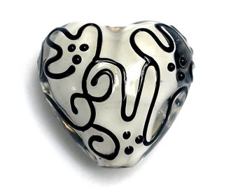 Black & White Stringer Heart Focal Bead - Handmade Lampwork Bead 11813105