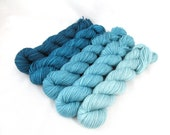 Gradient Yarn Kit, Hand Dyed Merino Wool, Pebble Sock - Ice