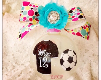 SOCCER STAR (girl)  hand painted large glass ornament