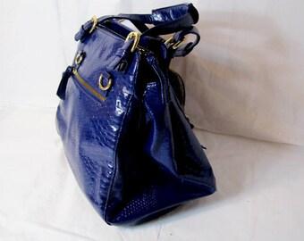 Blue bag,  Blue vinyl handbag, Large size bag, Travel bag