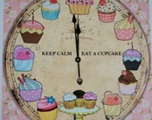Shabby Pink Roses - CUPCAKE CLoCK - Not a Working Clock - KeeP CaLm - EaT a CuPcAkE - WaLL ArT - one 8 x 10 print - Whimsical - CCW 887