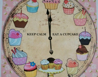 Shabby Pink Roses - CUPCAKE CLoCK - Not a Working Clock - KeeP CaLm - EaT a CuPcAkE - WaLL ArT - one 8 x 10 print - Whimsical - CCW 887