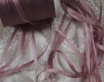 2mm silk ribbon in Mauve  5 yards #681