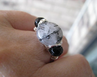 Rutilated Quartz Ring, Gray and Black and Silver Ring, Size 8 Ring