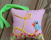 Medium Size Original Freehand Embroidered Initial Pillow Any Theme