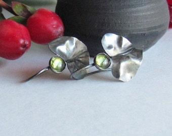 Fold Formed Leaf Earrings - Leaf Jewelry - August Birthstone