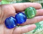 3 Chunky Artisan Glass Disc Beads - blue & green