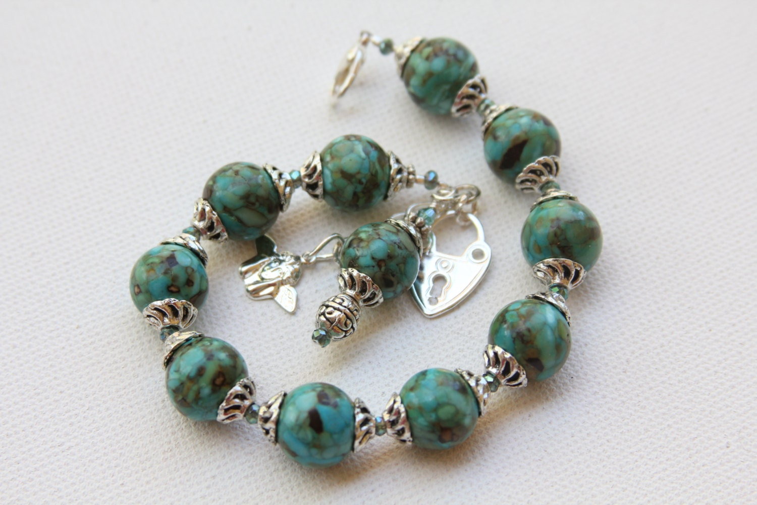 Plus size bracelet rosary bracelet with mosaic turquoise and for Plus size jewelry bracelets
