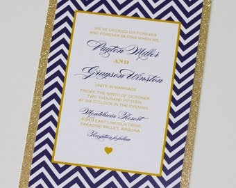 Payton Chevron Glitter Wedding Invitation  - Navy Blue, White, Gold Glitter - Sample