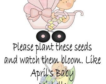 Personalized Baby Shower Seed Packets Custom Favors Pink Buggy