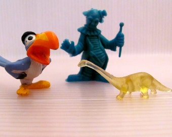 Miniature Parrot, Clown, and Dinosaur