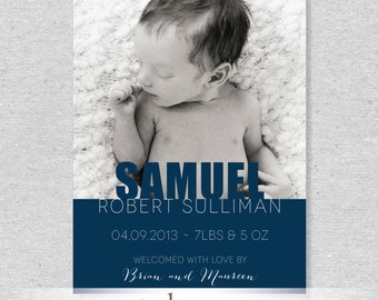 Modern and Bold Photo Birth Announcement - DIY Printable File