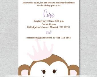 Royal Monkey Princess Party Invitation