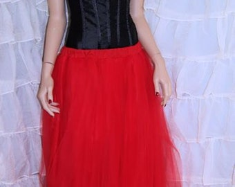 Pure Red Floor Length Tulle Skirt Adult All Sizes MTcoffinz