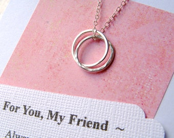 FRIENDSHIP Necklace with POEM Card - INSEPARABLe RINGS Sterling Silver Friendship Jewelry  Best Friend - Wear Everyday  Simple  Contemporary