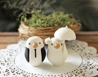 Custom Wedding Cake Topper - Small Hand Painted Love Birds