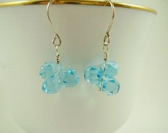 Aqua Teardrop Crystal Earrings, Turquoise Teardrop Glass Earrings, Aqua Earrings, Valentine's Gifts, Bridesmaid Earrings,Weddings, Blue