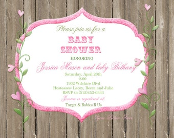 Baby Shower -  Pink Hearts on a Vine
