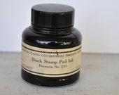 United States Government Printing Office Ink Bottle Black Stamp Pad Ink Vintage Glass
