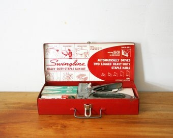 vintage 50s Swingline Staple Gun No. 900 Kit Stapler Tool Box and Staples- Great Industrial Gift for Guys and Gals