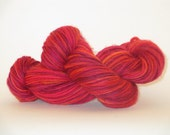 LUPITA  single ply handdyed handspun Merino wool yarn in pink and orange 244yds