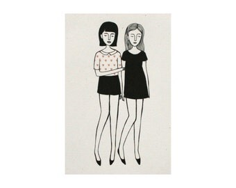 two girls (4x6 print)
