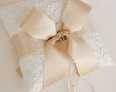 Champagne and Ivory Alencon Lace Ring Bearer Pillow