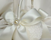 Ivory Flower Girl Basket - Ivory Alencon Lace  and Pearl Flower Girl Basket