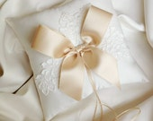 Ivory and Champagne Ring Bearer Pillow - Lace Ring Bearer Pillow