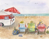 3 Beach Camping Amigos- watercolor beach art print, beach chairs, travel trailer