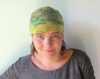 Green Pixie Felted  Hat