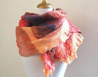Nuno Felted Silk Organza Scarf - Red  Pastel Orange  Aubergine Rust Strawberry Brown