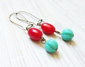 Bella Earrings in Red Coral with Turquoise and Brass