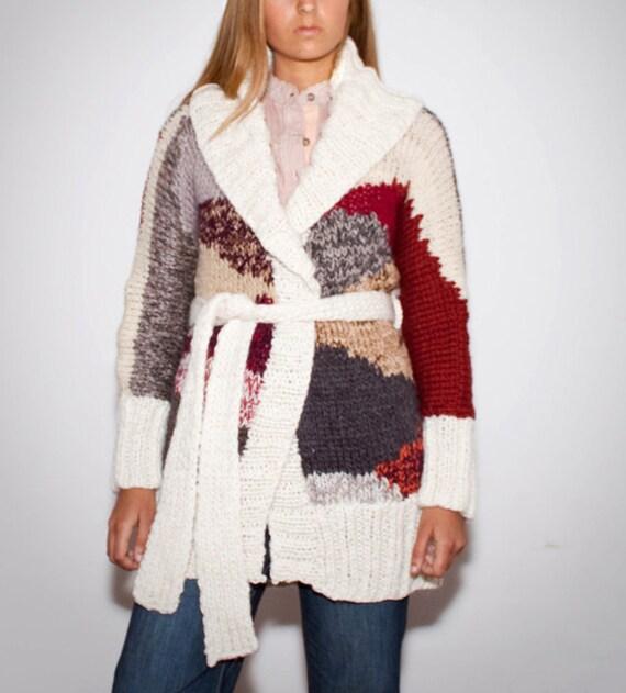 hand knit cardigan GEO nr 4 jacket coat geometric design in ecru and earthy yarns