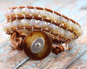 Opal Wrap Bracelet Boho Caramel Pale Blue Fashion Bohemian Triple Wrap Summer Jewelry Western Wrap Bracelet Rustic Leather Wrap Bracelet
