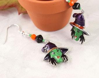 Halloween Earrings Witch Earrings Orange Green Black Purple Spooky Earrings Halloween Jewelry Scary Charms