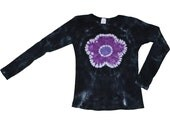 Tie Dye Shirt in Black with a Flower in Purples- Girls and Adult Sizes Available