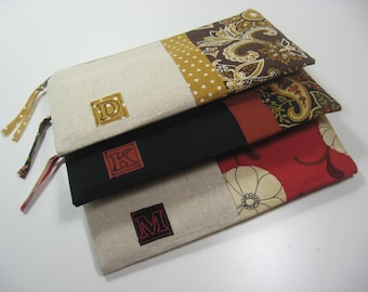 Set of 3 Personalized Clutches, Embroidered Initial, Personalized Clutch, Zipper Pouch, Bridesmaid Gift, Made To Order