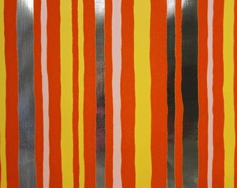 1970s Vintage Wallpaper Retro Orange Flocked Stripe on Silver Metallic by the Yard