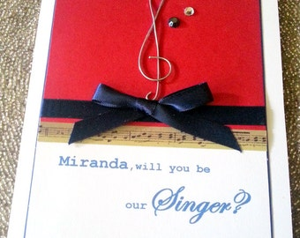 Will you be my Wedding Singer,Wedding Musician,Thank you for Singing in our Wedding Card,Wedding Singer,Musician