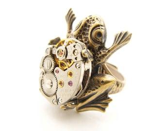 Steampunk Brass Frog Ring
