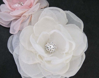 Bridal hair flower set, Ivory Blush, Organza Rose hair set J200 - bridal hair accessory