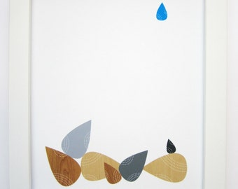 Rain Drop Print, Tear Drops Art Print, Mid Century Modern, Abstract Art, 8x10