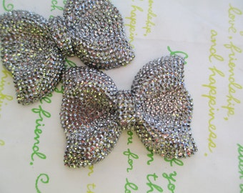sale NEW item Large sparkly Bow 2pcs Dark grey gunmetal color  52mm x 41mm