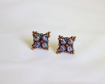 Handed Beaded Bubble Studs, Purple and Bronze with stering silver studs