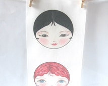 Cloth Doll face, Doll making supplies, Sew in Fabric doll faces (pack of 3) - Su Lin, Kirstie and Delphine