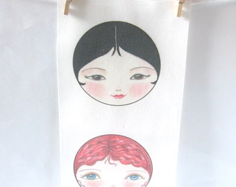 Fabric Doll face, Doll making supplies, Craft doll face, Textile Doll face, Babushka fabric, Sewing Notions