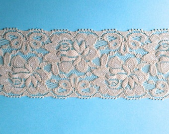 WIDE Stretch Lace Medium weight DARK IVORY 457 -2 1/4 inch -10 yards for 14.49
